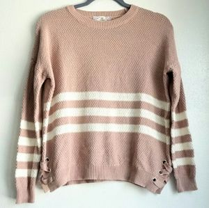Pink Republic pink sweater with white stripes